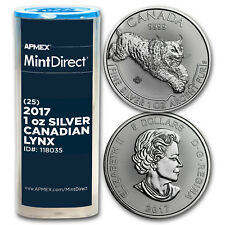 2017 Canada 1 oz Silver Predator Lynx (25-Coin MintDirect® Tube)