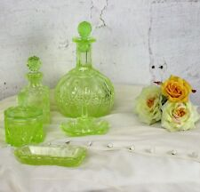 Vanity Dresser set  Depression glass Uranium Perfume Bottle Ring holder 5 pieces