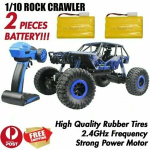BLUE RC Car 2.4Ghz 1/10 Scale RC Rock Crawler Buggy Truck Kids Toy 2 x Battery