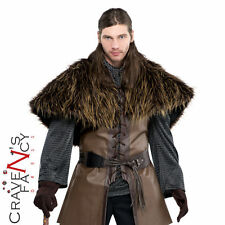 Adult Warrior Fur Shoulder Cape Medieval Mens Fancy Dress Costume Accessory New