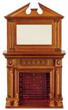 Dollhouse Miniature Walnut Fireplace with Mirror
