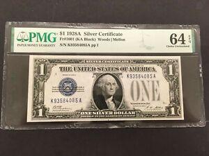 USA  1 Dollar 1928A -- Silver Cert. funnyback -- PMG graded Choice UNC 64 EPQ