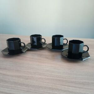 4 x Vintage France Arcoroc Black Octime Octagonal Cups and Saucers 7.5 x 6.5 cm