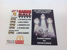 Los Angeles Raiders Football Schedule 1993 Never Folded