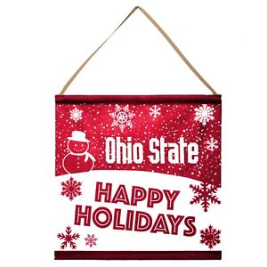 Ohio State Buckeyes Happy Holidays Banner Sign Christmas Wall Door Decoration