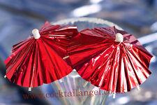 CHRISTMAS DRINK DECORATIONS (RED FOIL COCKTAIL UMBRELLAS) x 20