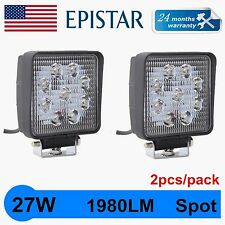 2X 27W Spot Led Work Light Bar Boat Tractor Truck Offroad DRL SUV 4WD Square QNT