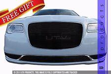 GTG 2015 - 2017 Chrysler 300 and 300C 2PC Gloss Black Overlay Billet Grille Kit