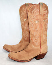 LUCCHESE CLASSIC HANDMADE Wo's 6.5B Tan Leather Suede Western  Cowgirls Boots