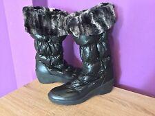 Women's Pavers Black Snow Boot. Wet Look Material, Full Zip. Roll Top, UK Size 6