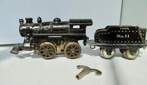 Vintage Ives #10 Locomotive & #11 Coal Car Clockwork Cast Iron Wind Up O Gauge