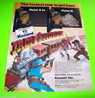 IRON HORSE By KONAMI 1986 ORIGINAL NOS VIDEO ARCADE GAME PROMO SALES FLYER