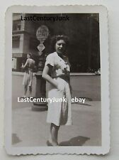 Original Black & White Photo Woman In Front Of Penn Depot Street Sign  N.Y.C.