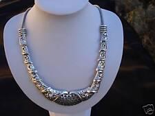 Collier raz de cou métal argent et strass bijou neuf