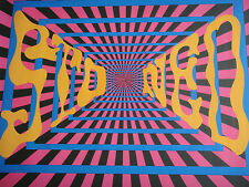 Vintage Psychedelic Black Light Poster Stoned 196Os Neon Posters Day Glo Trippy