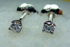 Tiny Genuine G-VS1 Diamond Earrings In  Solid 14K White Gold Studs W/Screw Back