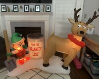 Gemmy Airblown Inflatable Prototype Naught List Elf Reindeer Christmas Yard