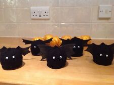 Halloween Black Bat Terrys Chocolate Orange/Bath Bomb Cover Hand Knitted x2