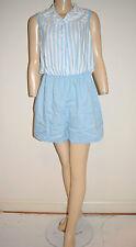 Vintage 70's Blue White Stripe Playsuit Romper by Sergio Valente-  Size Large