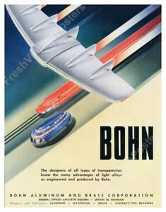 streamlined future plane train bus art 1947 Bohn ad poster 24x31