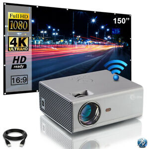 """1080P FULL HD WIFI Bluetooth Mini Video Projector 4K 300"""" Max Home Office Gaming"""