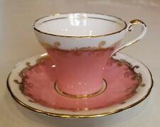 Vintage Aynsley English Bone China Teacup Saucer Elegant Pink & Gold Mint Cond.