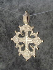 Orthodox, Old Hutsul Cross Pendant, 14K Yellow Gold, Sleek, Pl 3 bar cross, 4.8g
