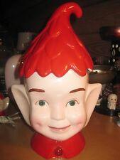 Vintage Pixie Elf Red Ceramic cookie Jar Green Eyes