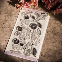 Silikonstempel Motivstempel Stempel Stamp Scrapbook Blume Schmetterling Hot NEU.