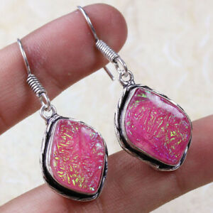 "Opal Tripplet 925 Silver Plated Handmade Gemstone Earrings of 1.7"" Ethnic Gift"