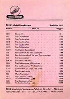 Trix Preisliste Metallbaukasten 1952 ORIGINAL! price list