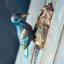 """WOODPECKER CAST IRON DOOR KNOCKER 7.5"""" Hand Painted Heavy Metal Bird Lover Decor"""