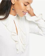 Ann Taylor - XL (16) Winter White Cream Pleated Ruffle Blouse $80.00 (91)