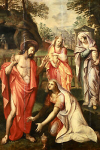 16th CENTURY HUGE FLEMISH OLD MASTER OIL PANEL - CHRIST APPEARING TO HOLY WOMEN