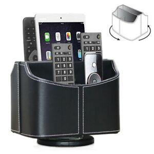 Remote Control Holder Rotatable Desktop Organizer PU Leather Desk Storage Box