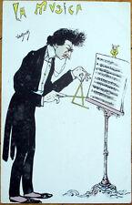 1903 VanDock/Artist-Signed Postcard: Conductor, 'La Musica'