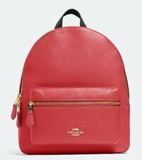 New Coach 30550 Medium Charlie Pebble Leather Backpack Poppy
