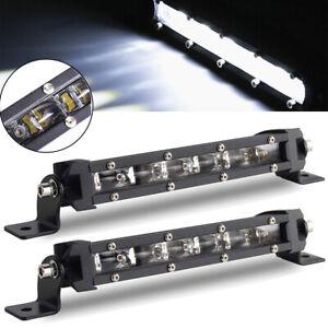 8'' 18W 6D Spot Beam LED Work Light Bar Single Row Off road Lamp 1800LM 2PCS