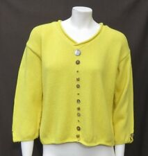 PURE HANDKNIT Bright Yellow Soft Cotton Chunky Knit Button Sweater size M L