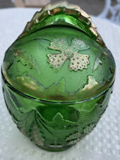 1899 US GLASS DELAWARE EAPG Emerald Green Gold Accents COVERED SUGAR BOWL