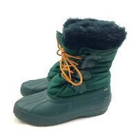 Sorel Winter Snow Boots Womens US 7M Green Waterproof Faux Fur Insulated Rubber