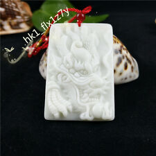 Fashion Natural White Jade Dragon Pendant Necklace Charm Jewelry Lucky Amulet