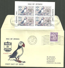 JETHOU EUROPA 18 DEC 1961 SHEET ON FIRST DAY COVER ENVELOPE QEII 3D GUERNSEY