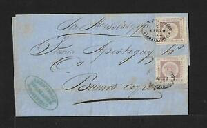 URUGUAY TO ARGENTINA 60cts x2 ON COVER 1864