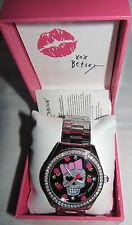 New In Box Betsey Johson Skull Candy Rose Womens Silver-Tone Bracelet 40mm Watch