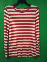 9559) MICHAEL KORS sz Small red stripe pullover thin jersey knit top S