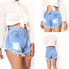 Womens Vintage Summer Ripped Denim Shorts Jeans High Waisted Stonewash Hotpants