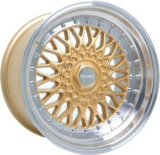 "Alloy Wheels 17"" Dare DR-RS Gold Pol Lip Chrome Rivets For Merc 190 [W201] 82-93"