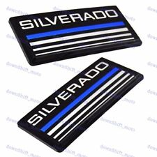 X2 Cab Emblems 3d Badge Side Roof Pillar Decal Plate For Chevy Silverado Blue