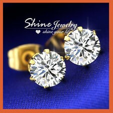 24K GOLD FILLED 0.8 CT Simulated Diamond SOLID CLASSIC CLAW STUD EARRINGS E98
